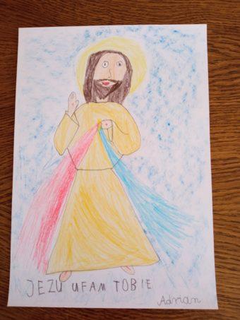 Pan Jezus Miłosierny na rysunkach przedszkolaków
